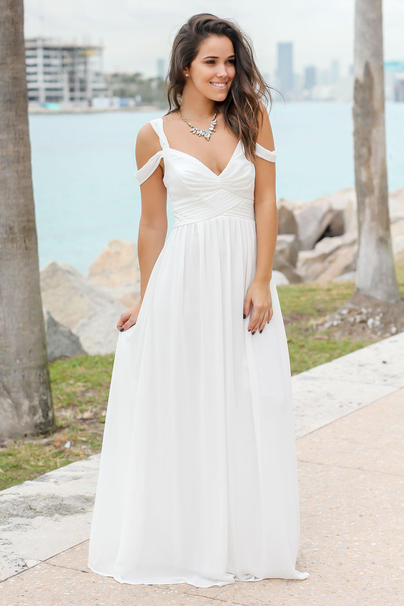 b16cdb4a3a8b Ivory Off Shoulder Maxi Dress
