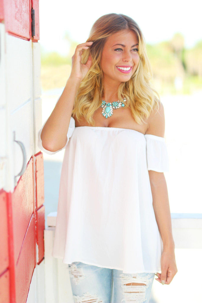 Ivory Off Shoulder Top with Short Sleeves