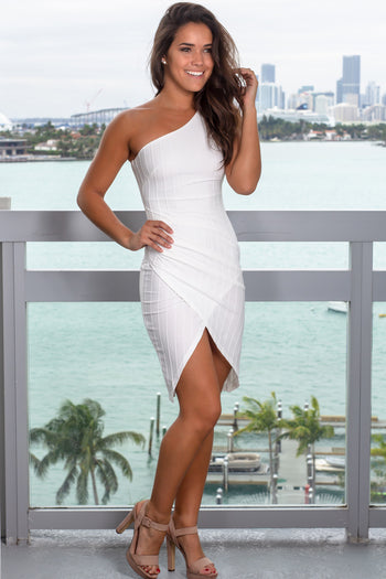 White One Shoulder Ruched Short Dress