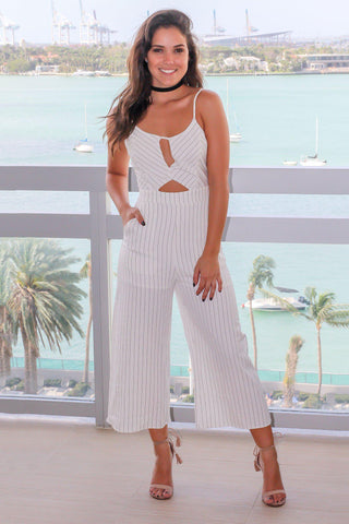 White Pinstripe Cut Out Jumpsuit