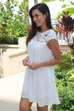 White Pleated Dress with Crochet Neck