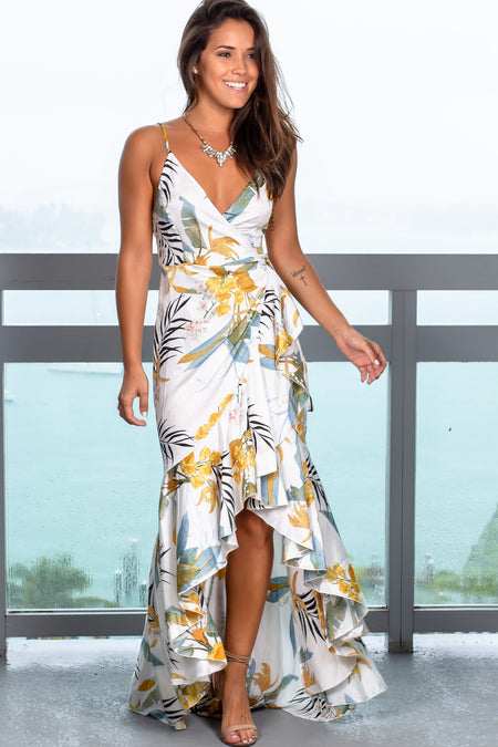 White Printed High Low Wrap Dress