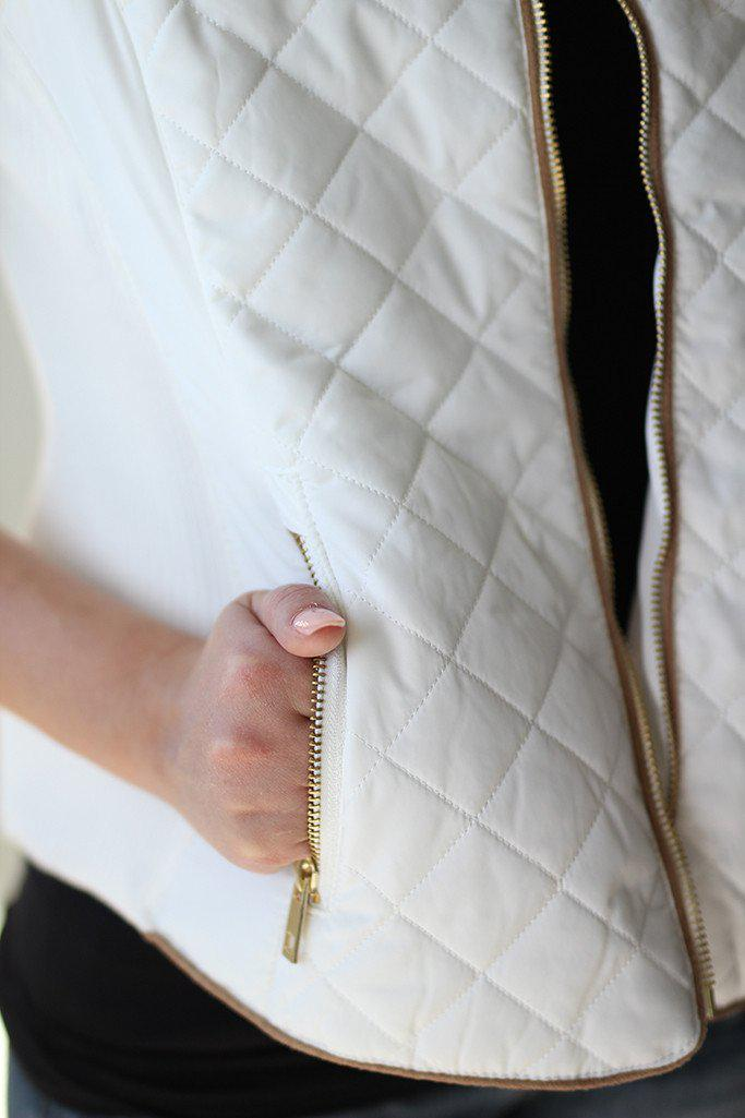 Cream Quilted Vest With Pockets
