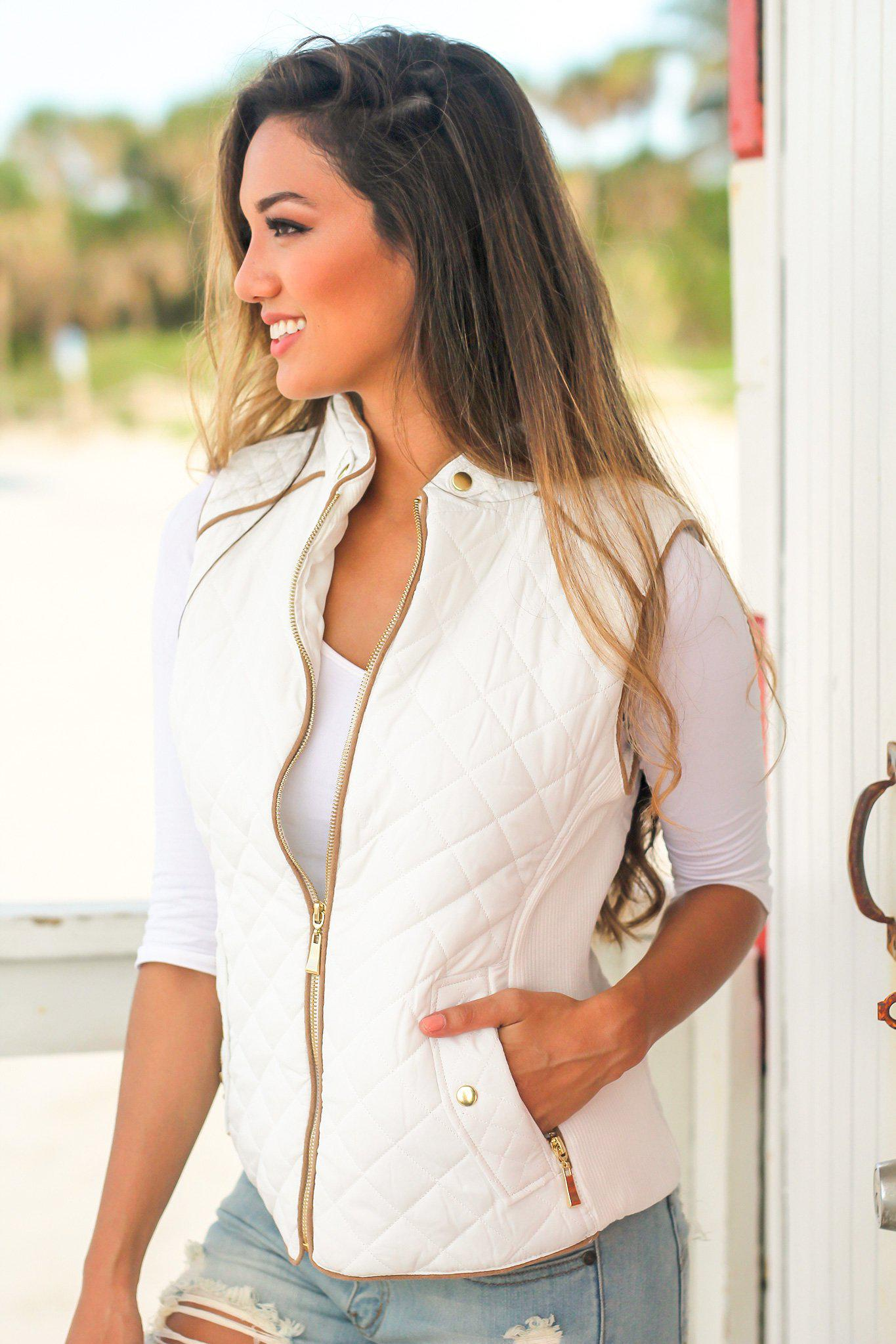 White Quilted Vest with Pockets