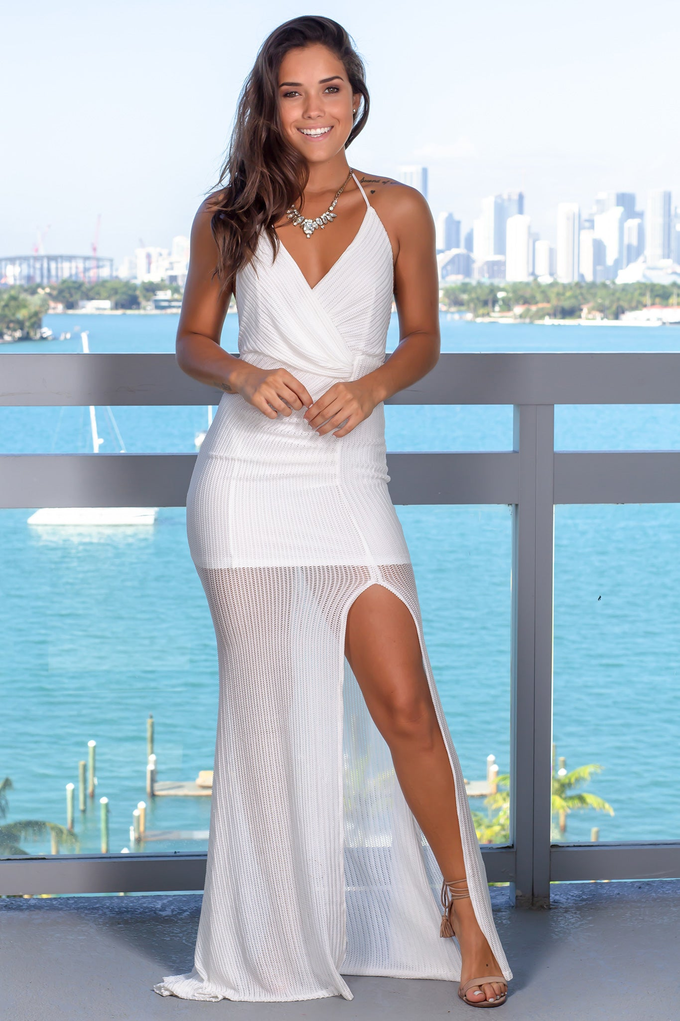 White Ribbed Halter Neck Maxi Dress