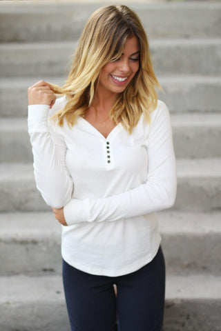 White Ribbed Long Sleeve Top with Buttons