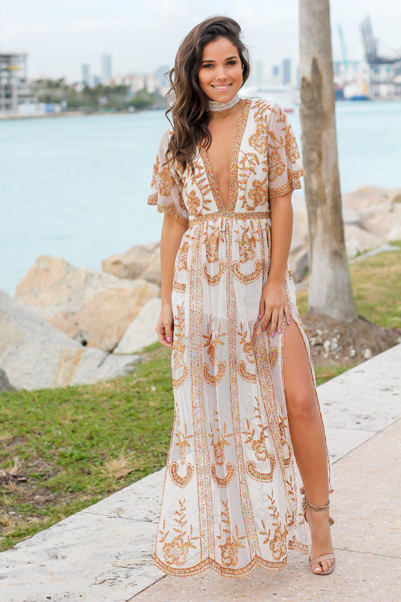 6f344ea61e19 White Lace Embroidered Maxi Romper | Rompers – Saved by the Dress