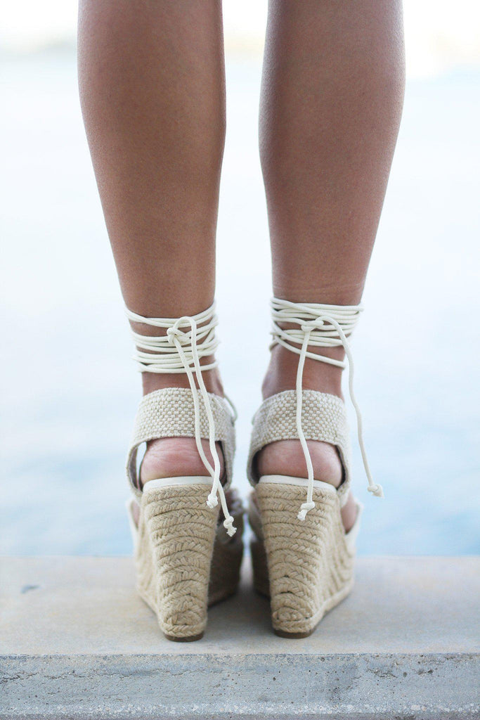 off white high platform wedges