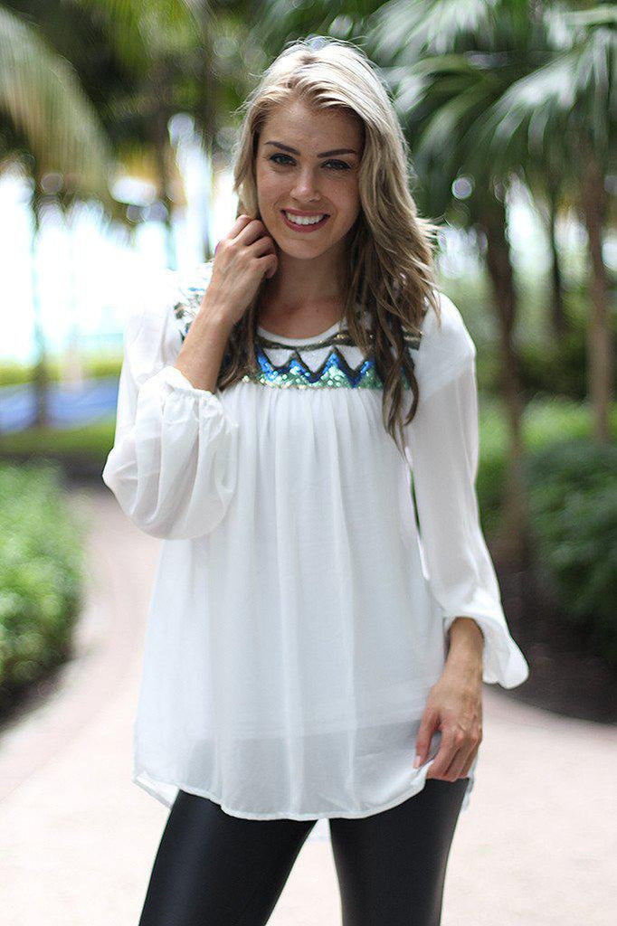 White Top With Sequins
