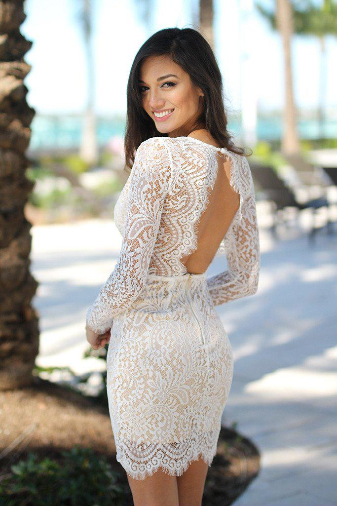 White Lace Short Dress with Open Back
