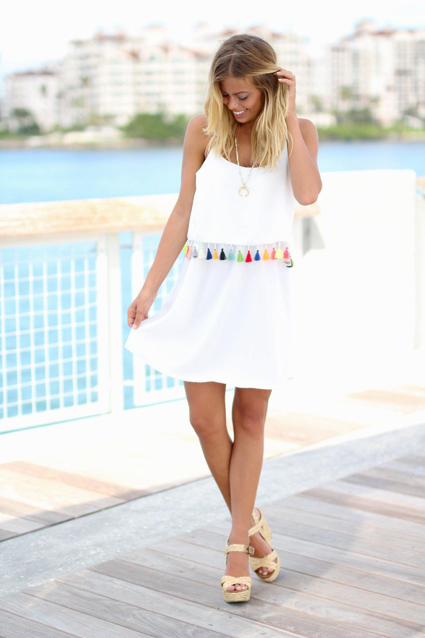 White Short Dress with Tassels