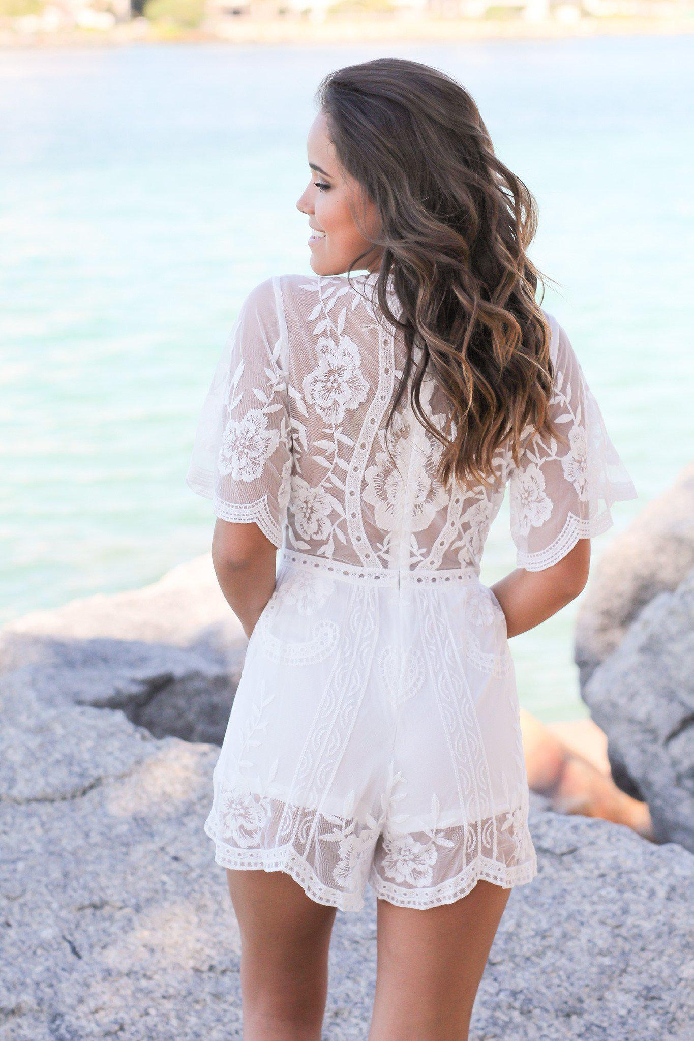 White Short Lace Romper