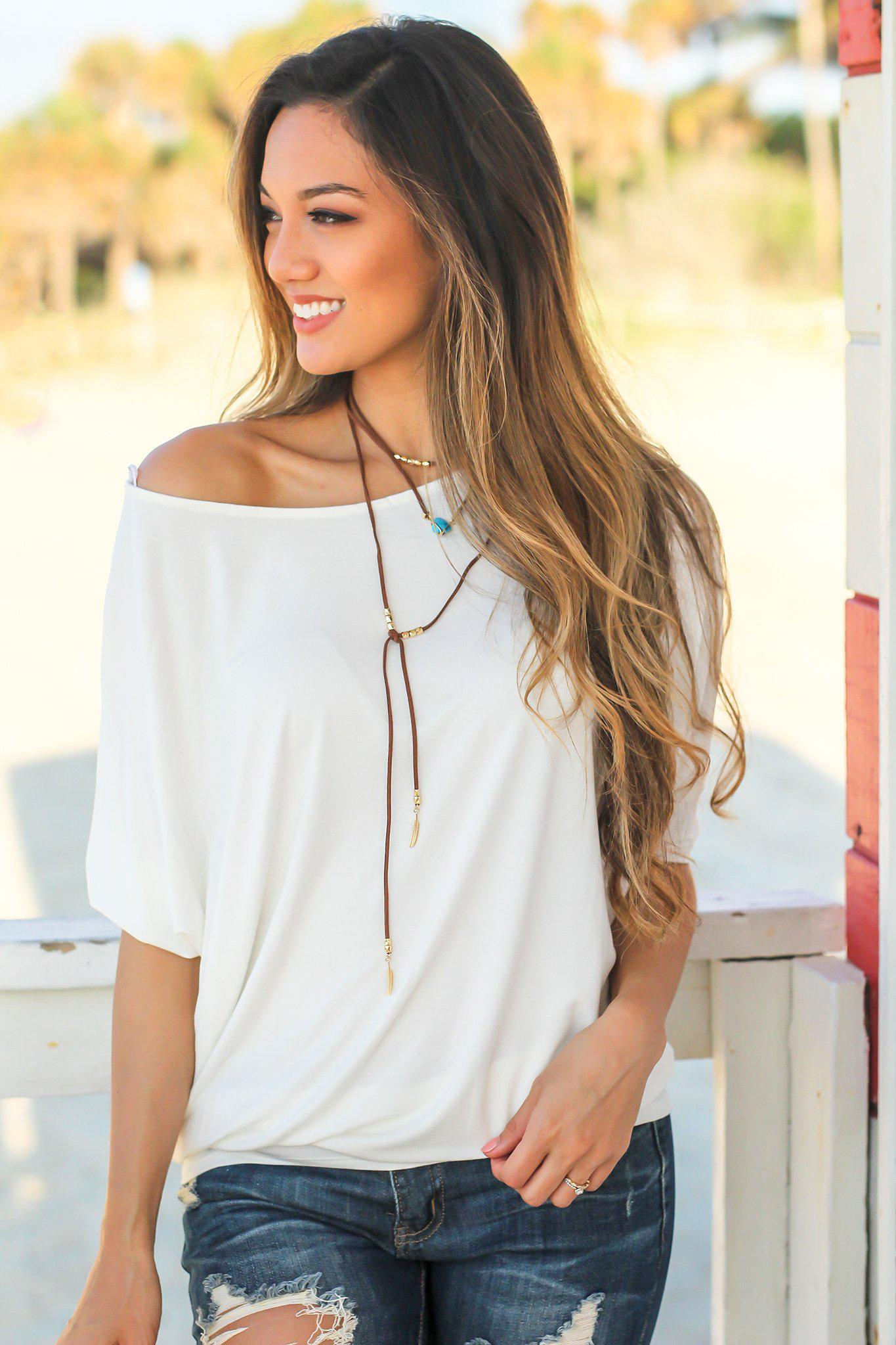 White Short Sleeve Dolman Top