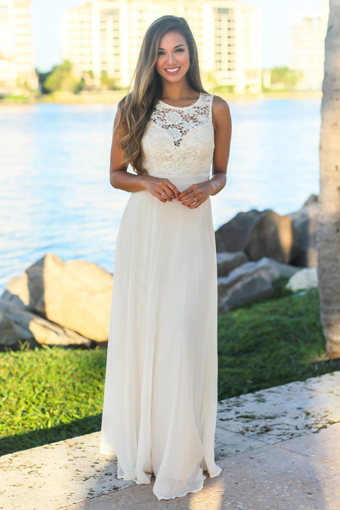 White Sleeveless Maxi Dress with Crochet Top