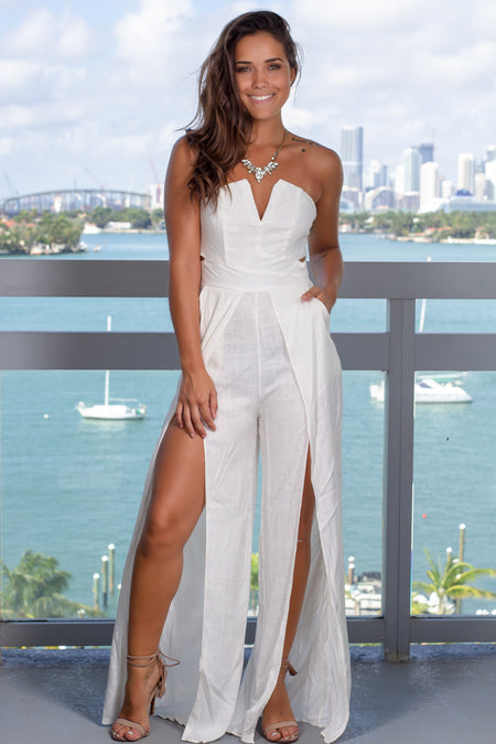 White Strapless Jumpsuit with Pockets