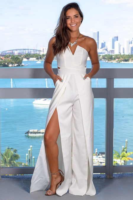White Strapless Jumpsuit with Slits