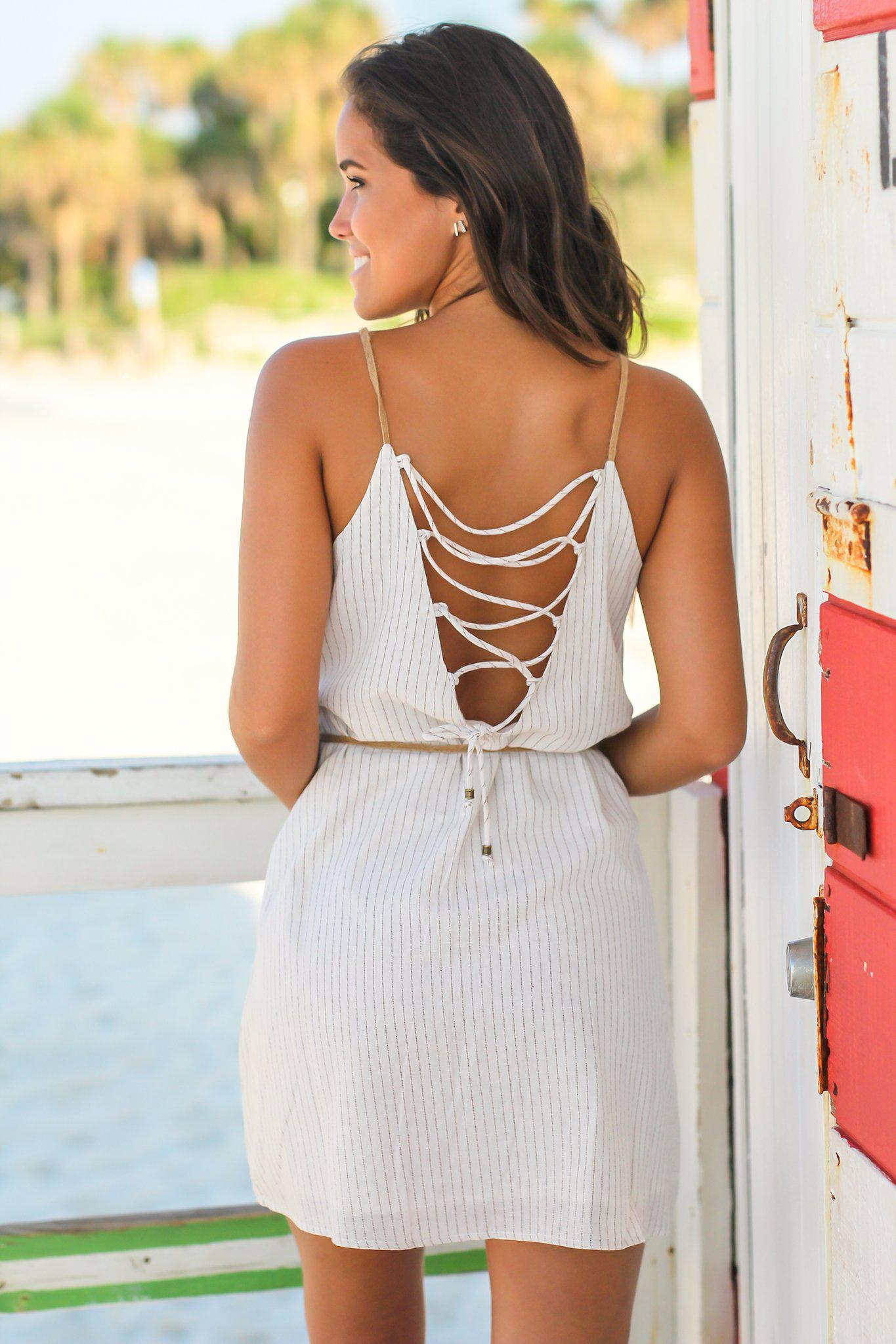 White Striped Short Dress with Strappy Back