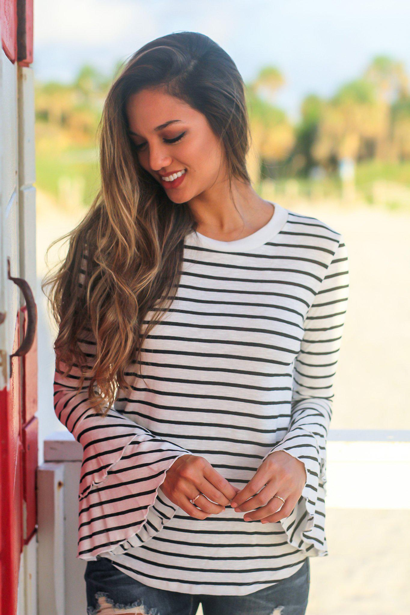 White Striped Top with Bell Sleeves