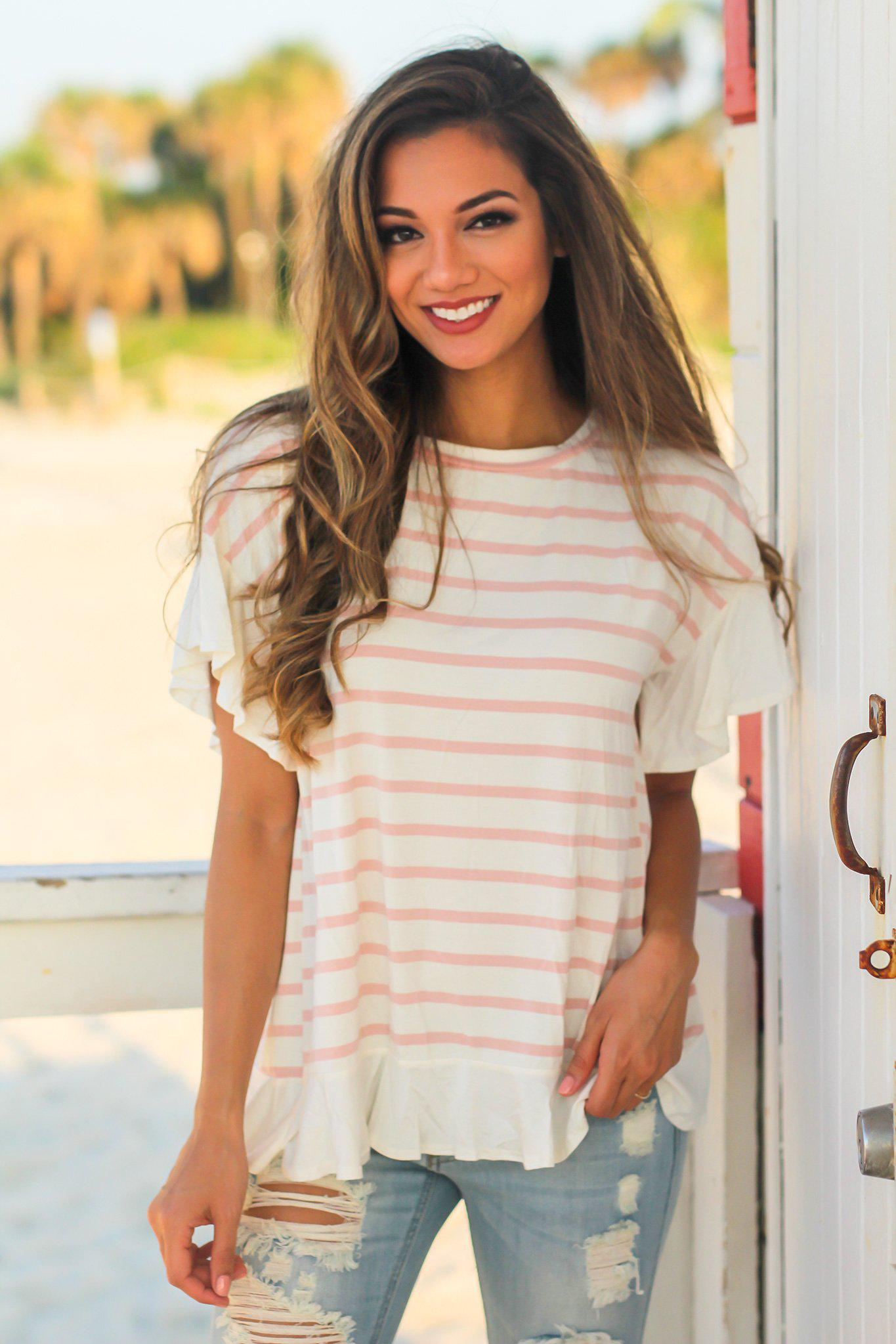 White Striped Top with Ruffled Bottom