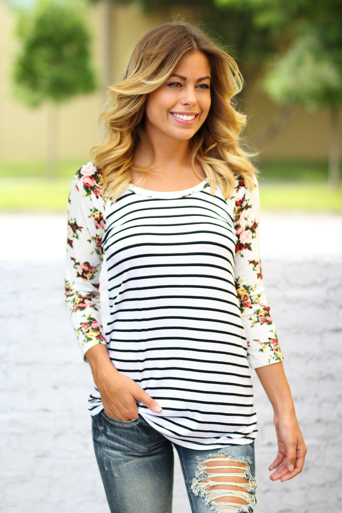 White Striped top with Floral Sleeves