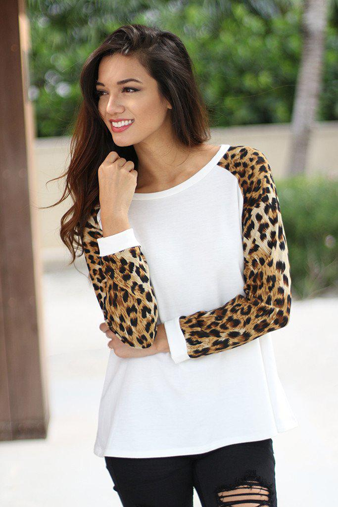 White Top with Animal Print Sleeves