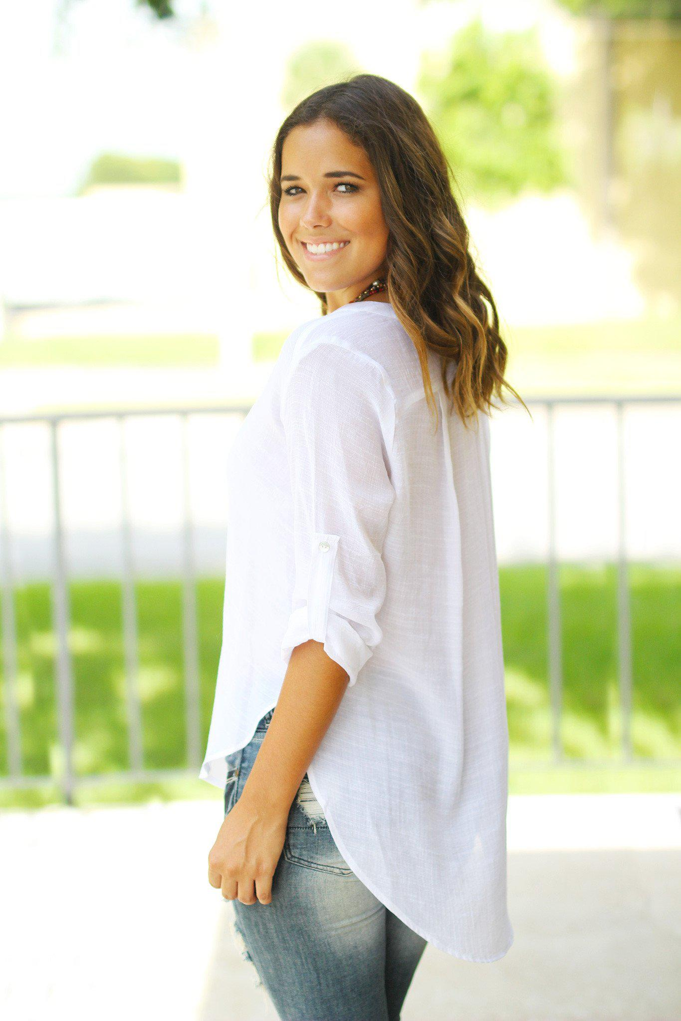 White Top with 3/4 Sleeves