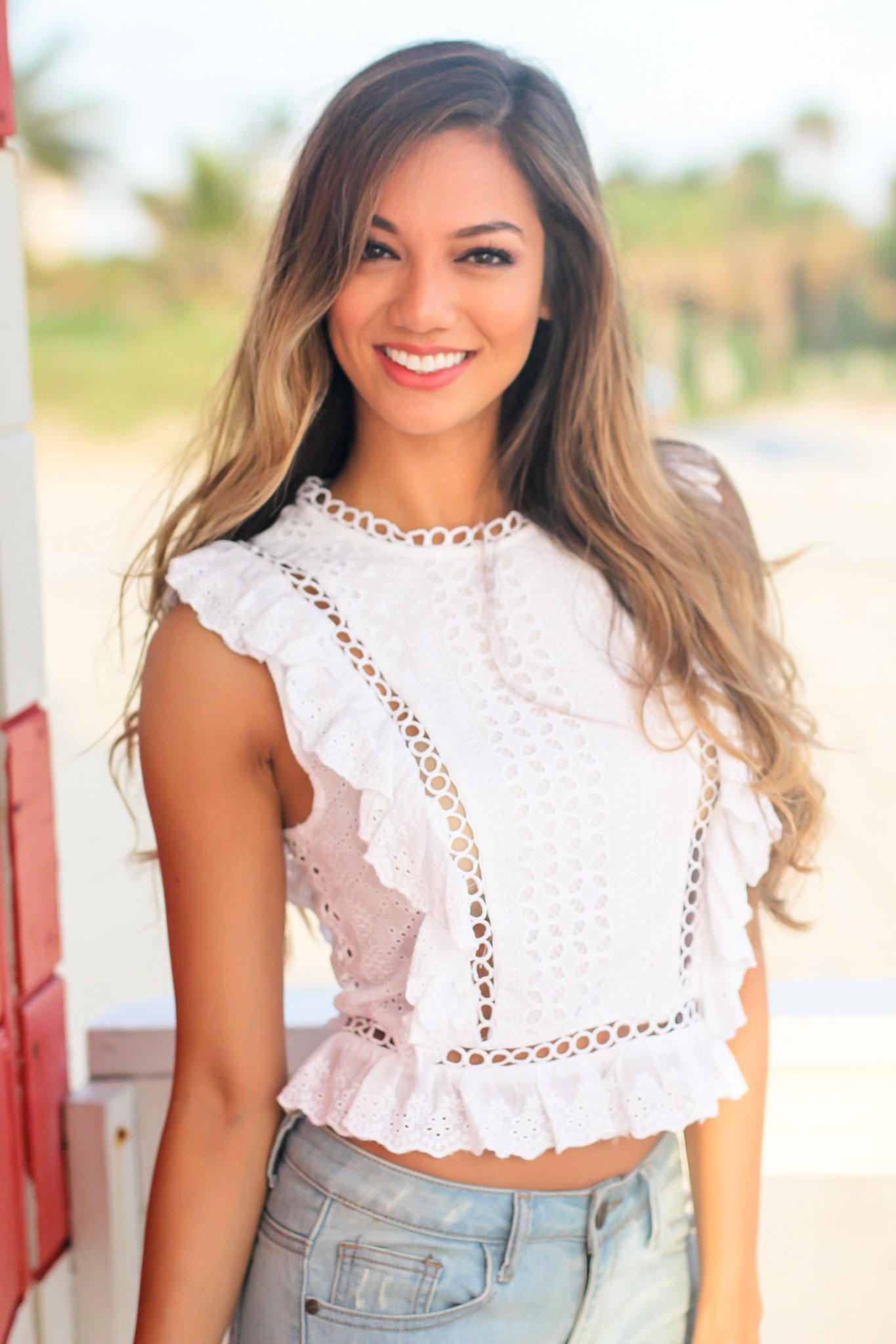 0ac30ac695fbd1 White Embroidered Sleeveless Top