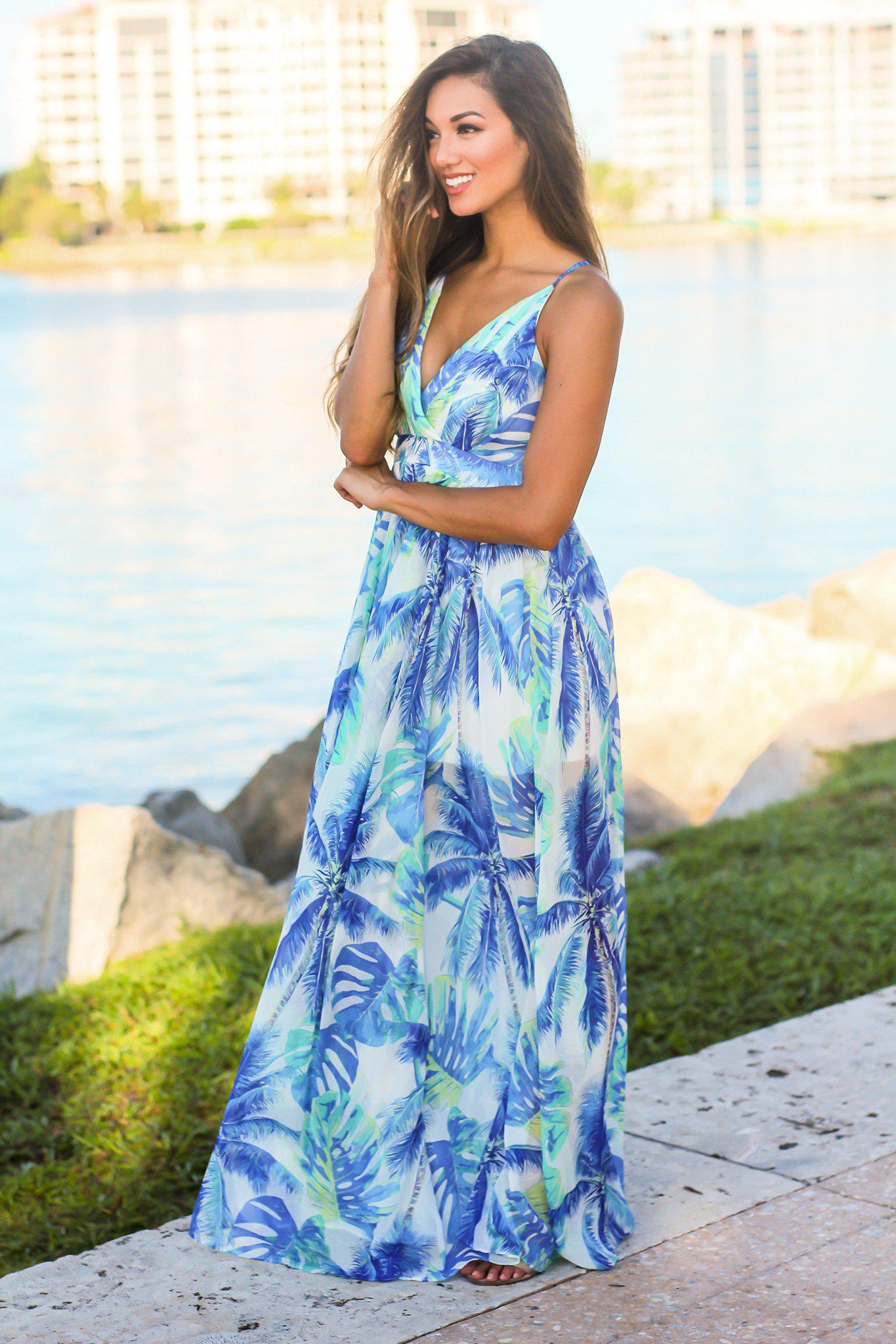 White Tropical Print Maxi Dress
