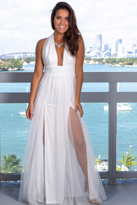 White Tulle Halter Neck Maxi Dress