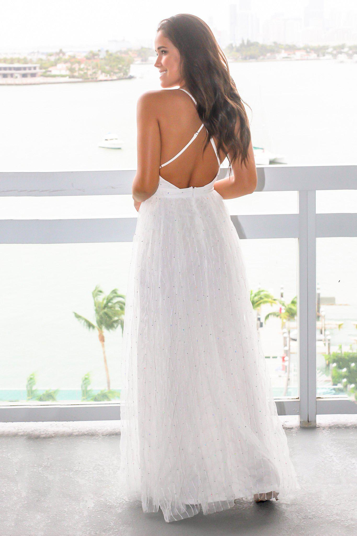 White Tulle Maxi Dress with Criss Cross Back
