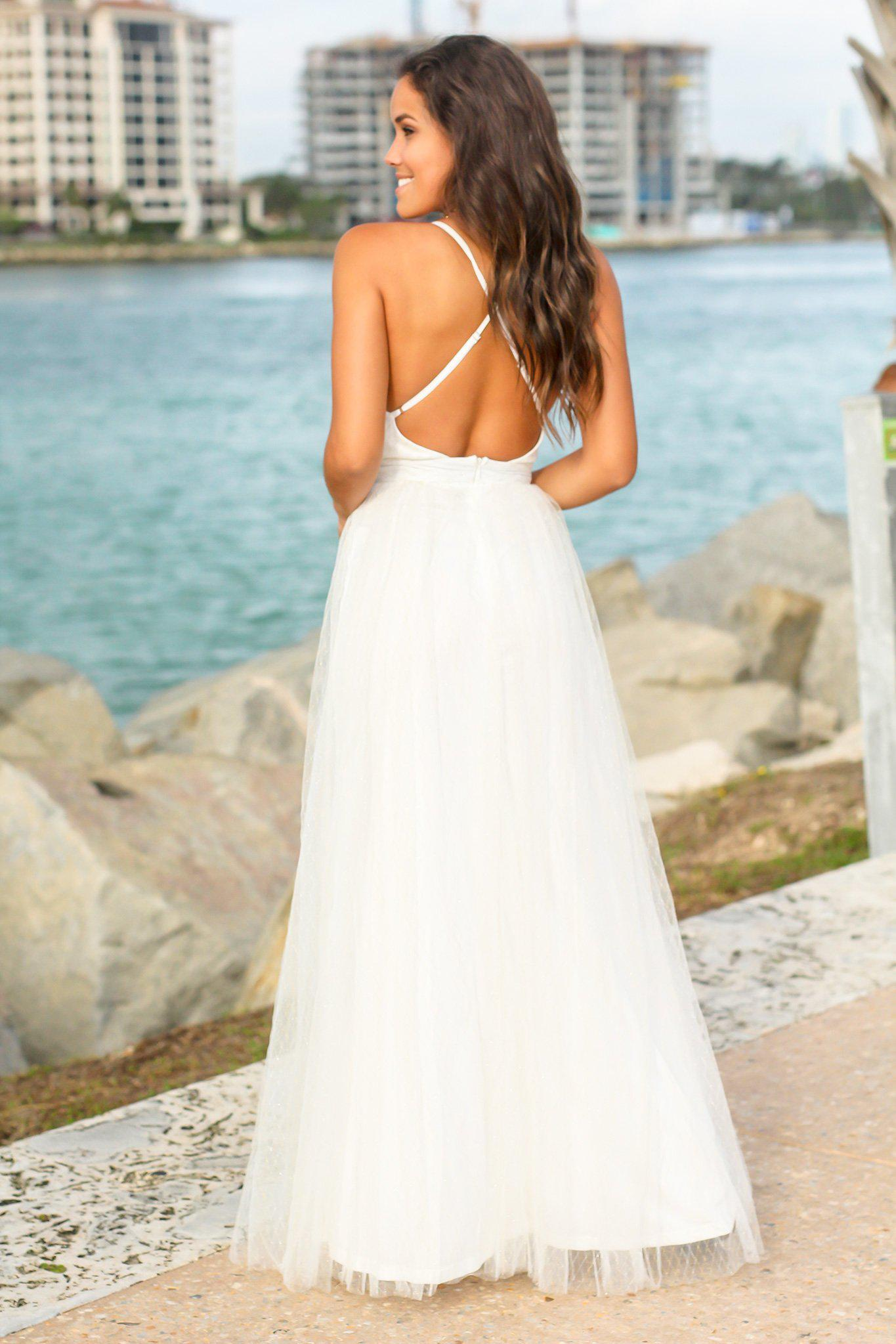 White Tulle Maxi Dress with Criss Cross Back and Gold Detail