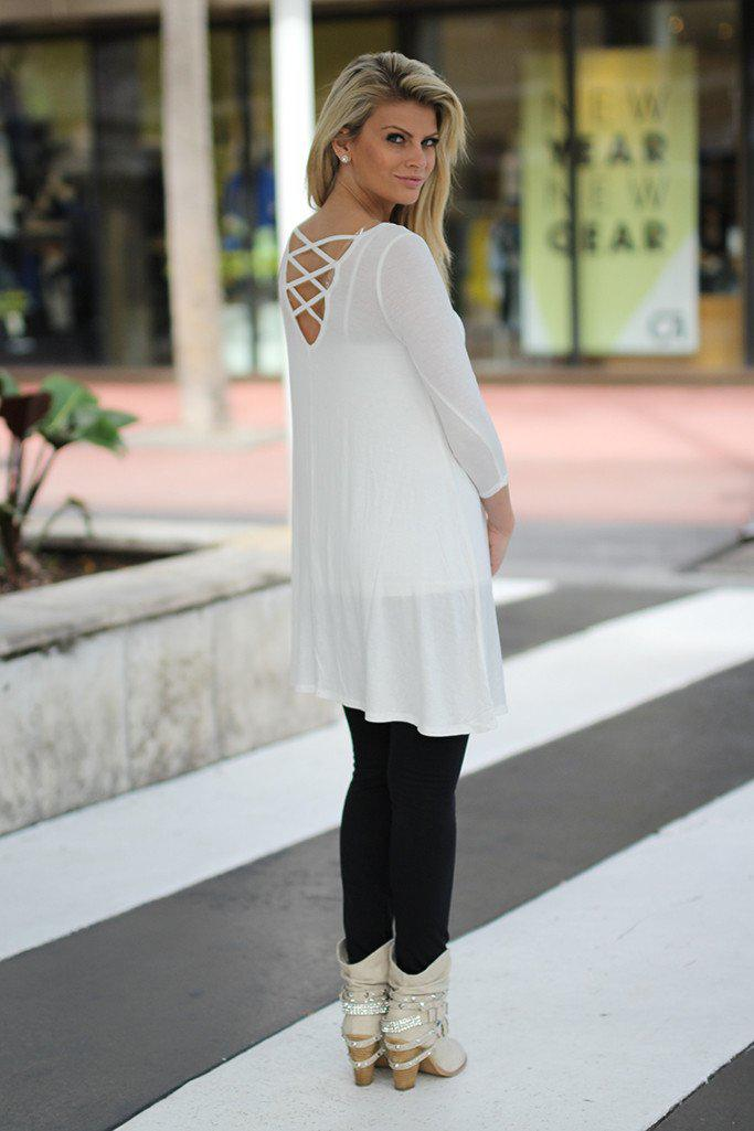 White Tunic with Criss Cross Back