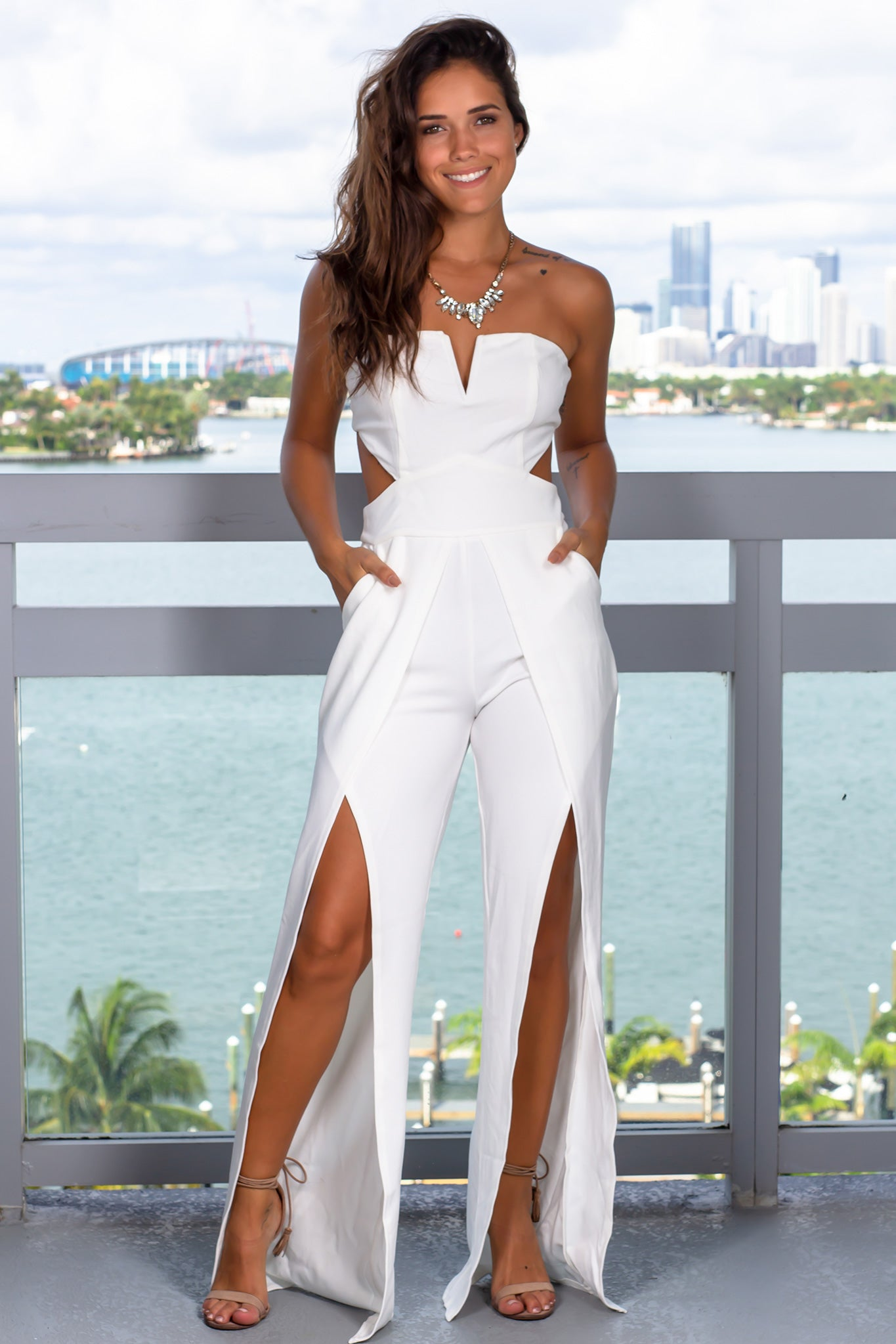 White V-Neck Strapless Jumpsuit with Pockets