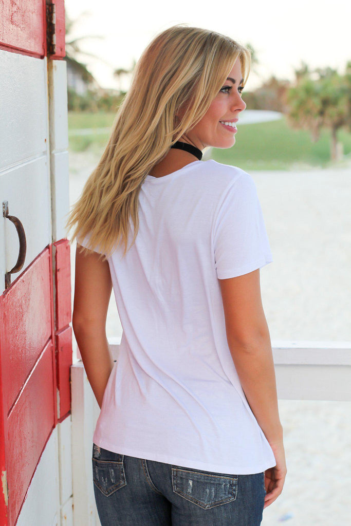 White V-Neck Top