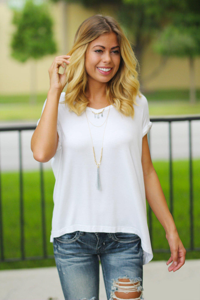 White V-Neck Top with Rolled Sleeves
