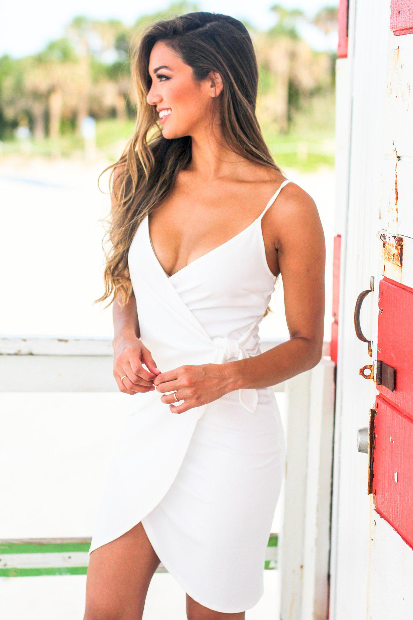 White Wrap Short Dress