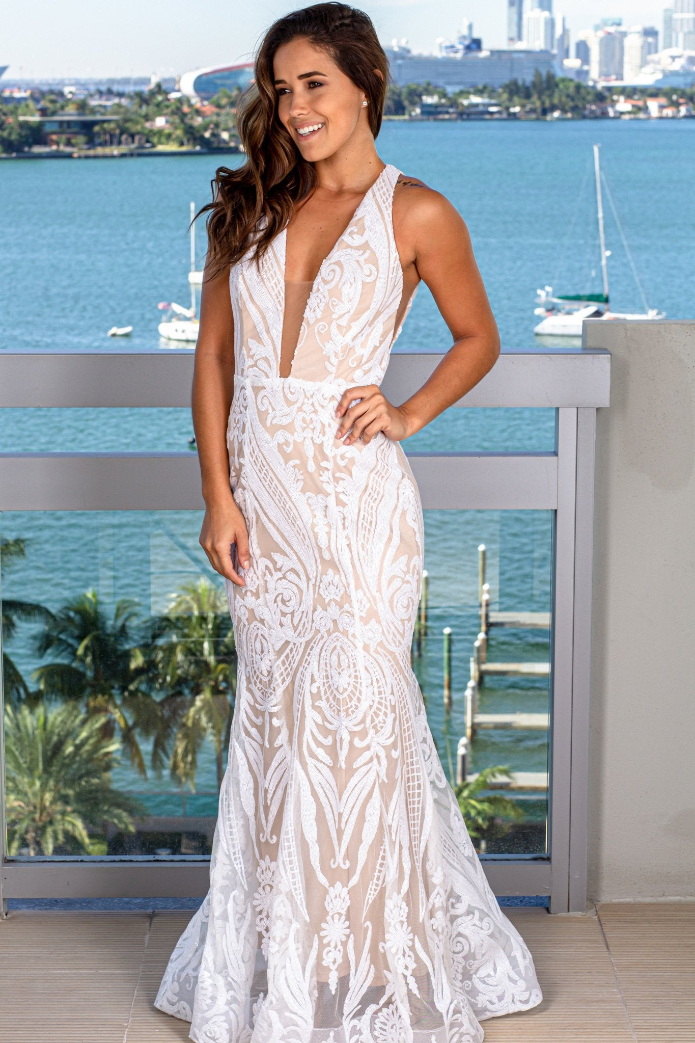 White and Beige Maxi Dress with Sequin Detail