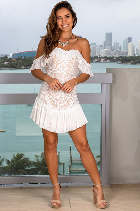 White and Beige Off Shoulder Short Dress