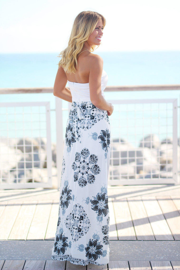 White and Black Floral Maxi Dress