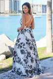 White and Black Floral Maxi Dress with Criss Cross Back