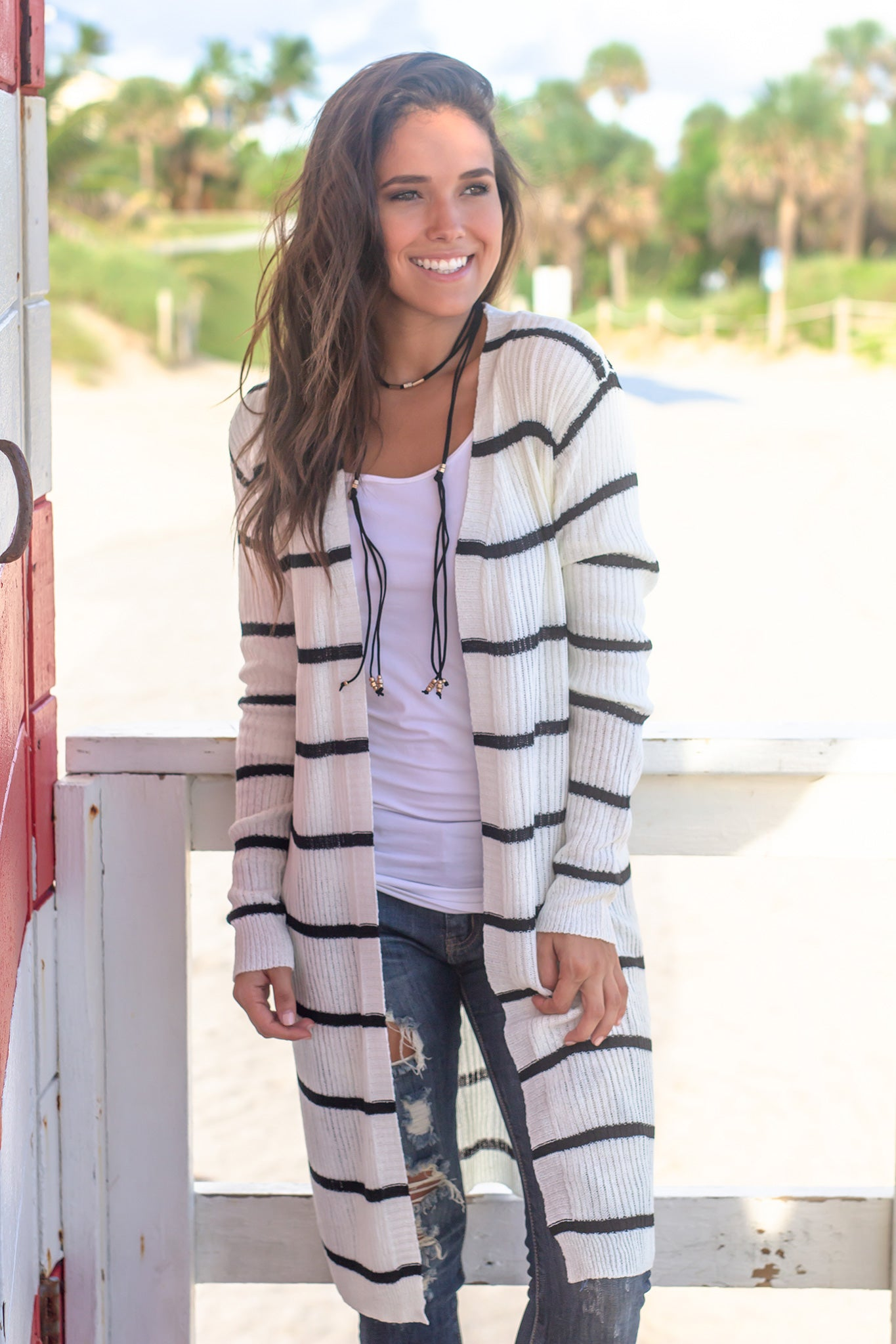 White and Black Striped Cardigan