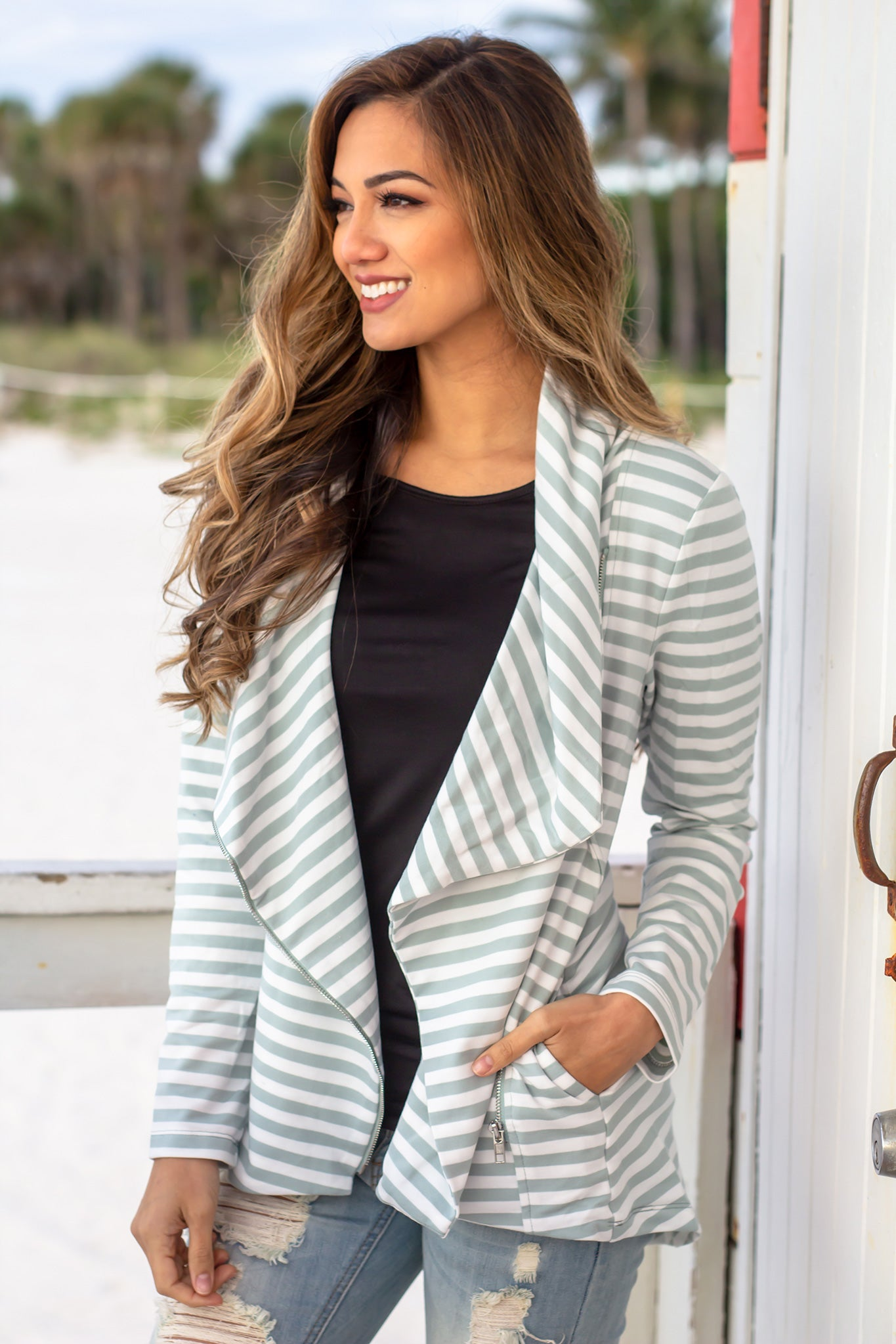 White and Blue Striped Asymmetrical Jacket with Zipper