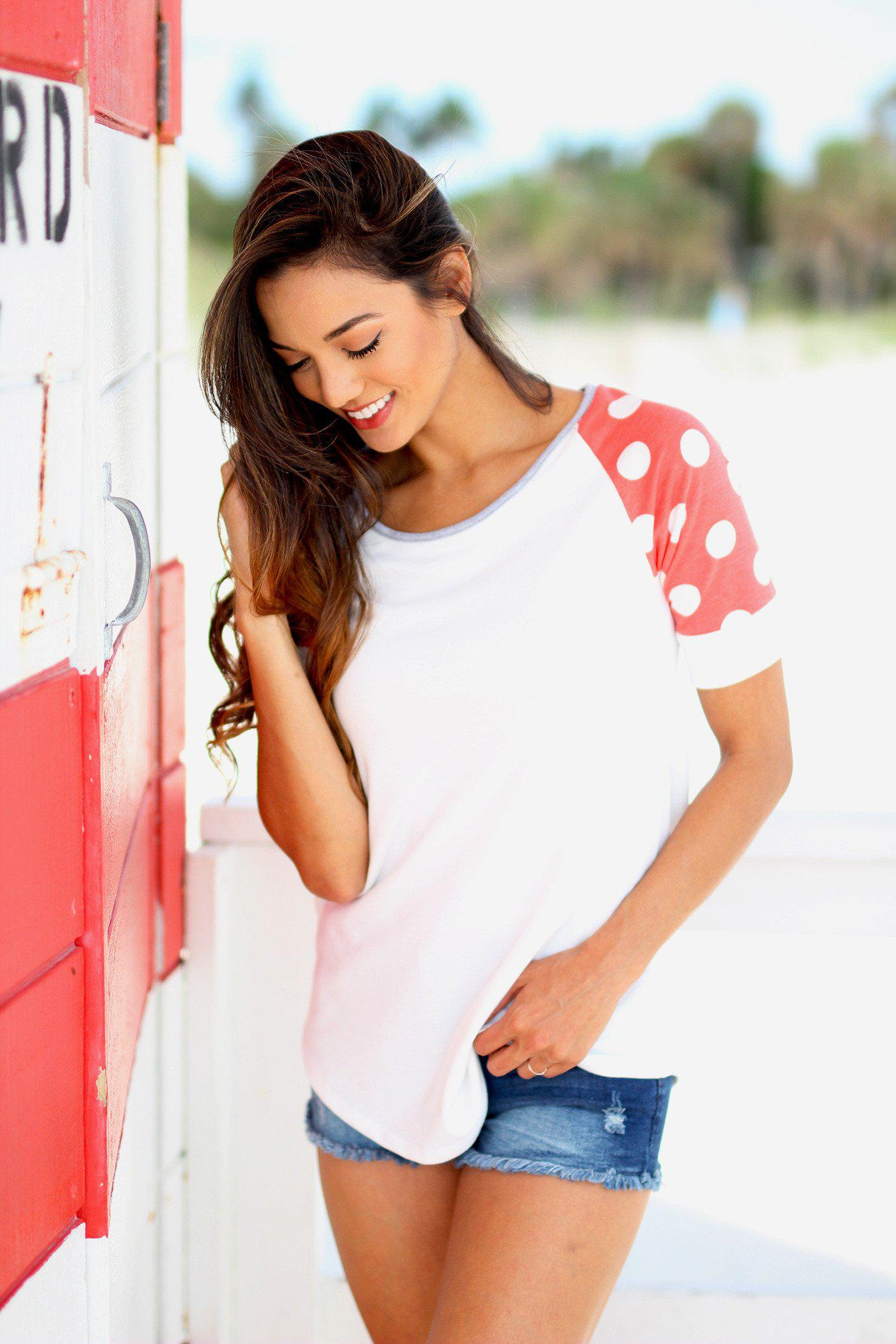 White and Coral Top with Polka Dot Sleeves