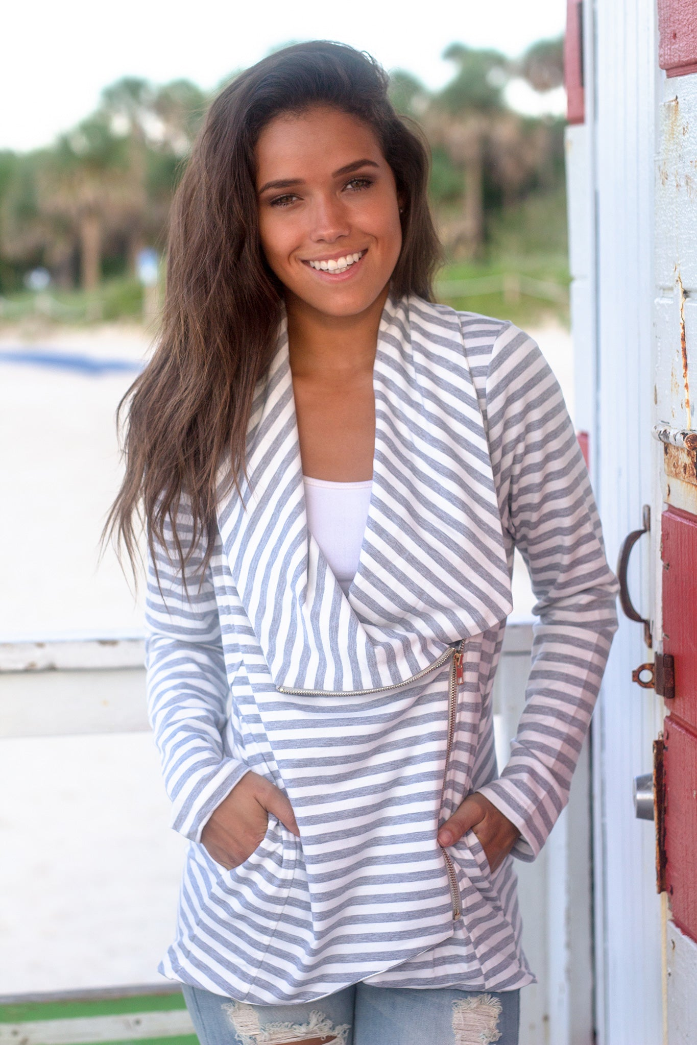 White and Gray Striped Asymmetrical Jacket with Zipper
