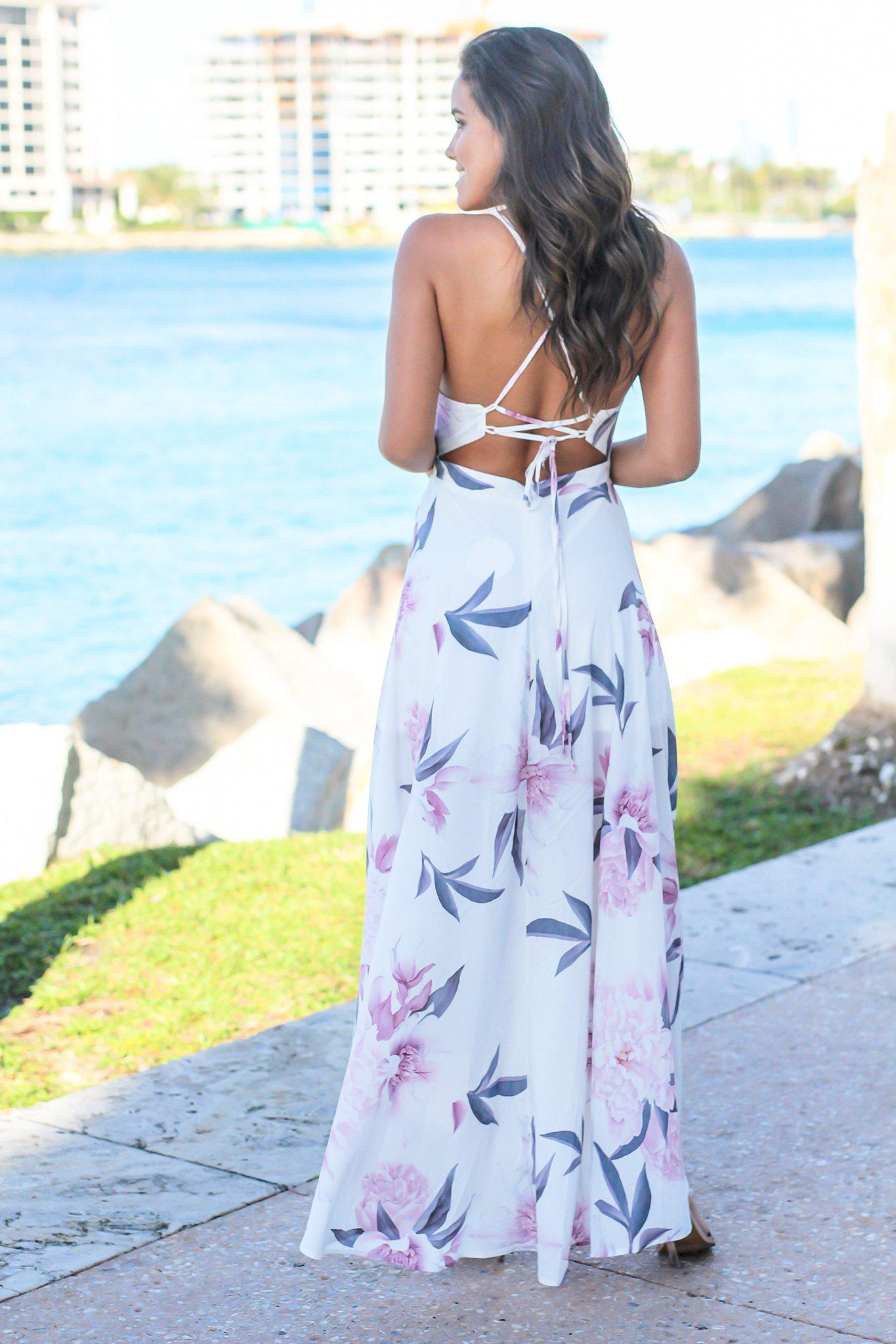 White and Mauve Floral High Low Dress