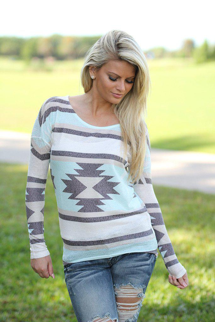 white and mint aztec top