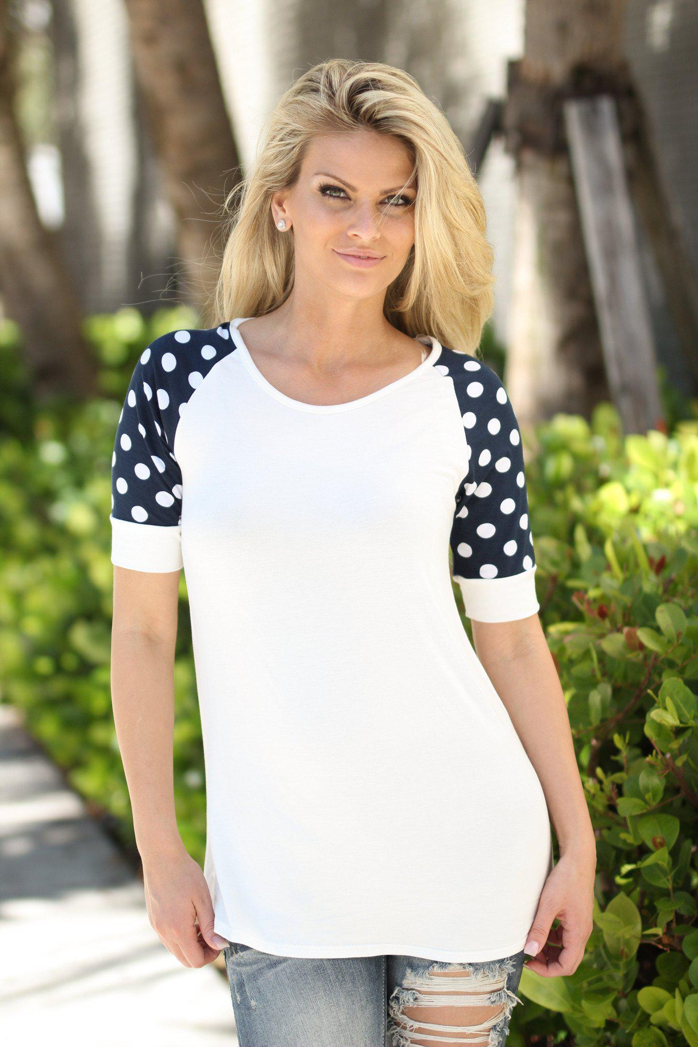 White and Navy Top Polka Dot Sleeves
