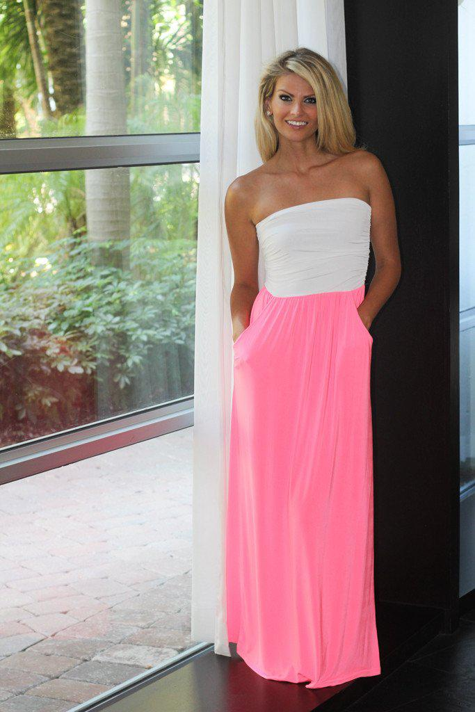 White & Neon Pink Maxi Dress With Pockets