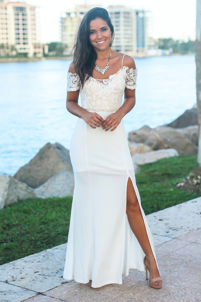 White and Nude Cold Shoulder Maxi Dress