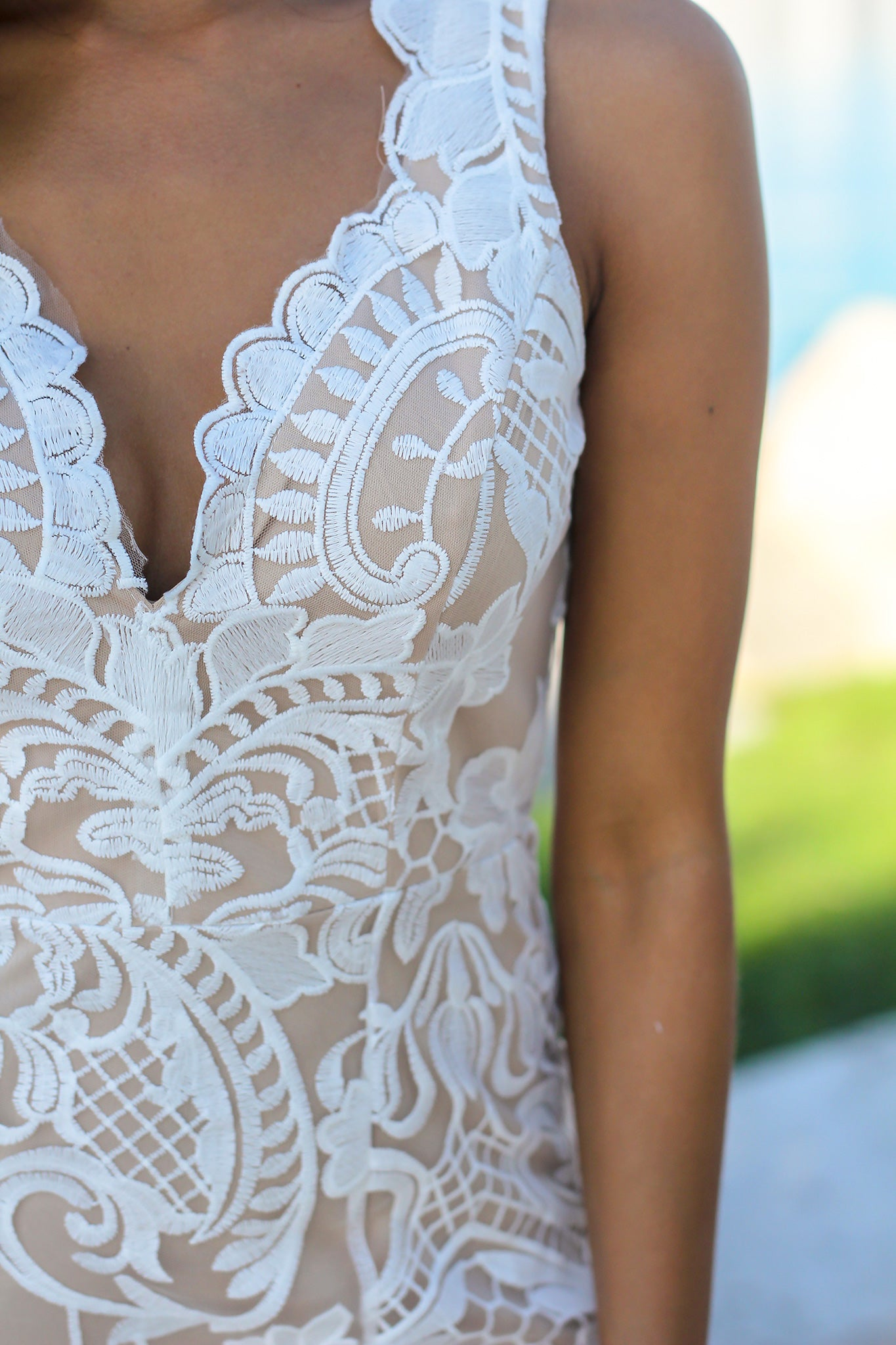 White and Nude Embroidered Maxi Dress
